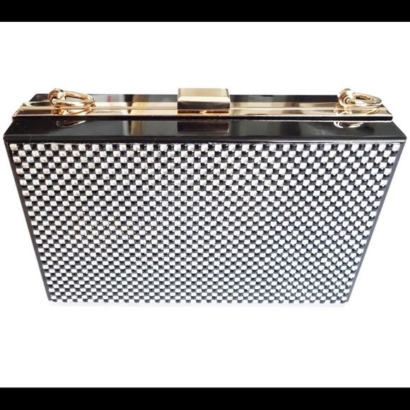 T&J Designs Handbags - Black and silver crystal Hard-Case Clutch